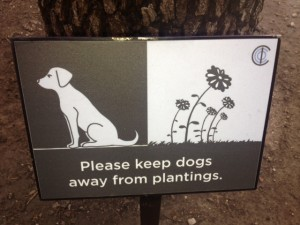 Simple and kind curb your dog signs is a great way to go