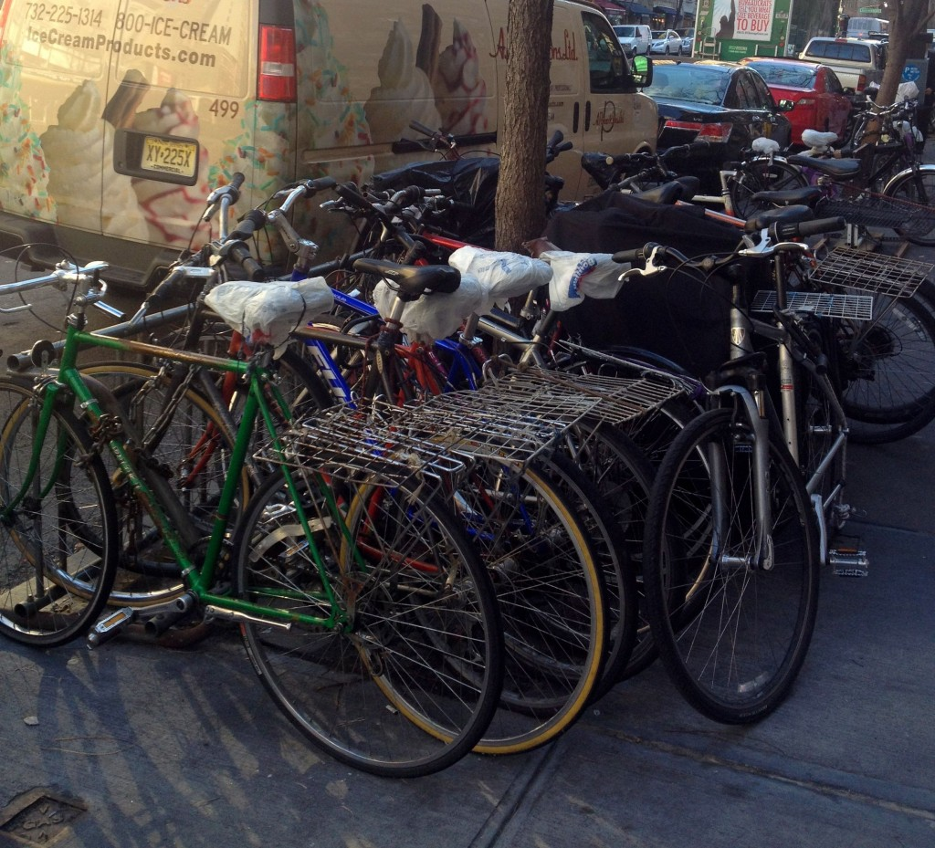 NYC CityRacks Bikeracks help protect trees because unlike this picture, bikes are not wrapped around a tree