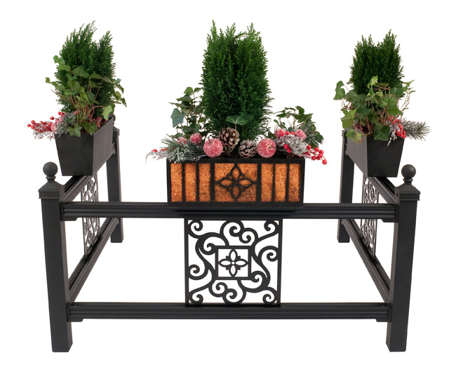 Curb Allure metal tree guard with single vine panel & garden planters